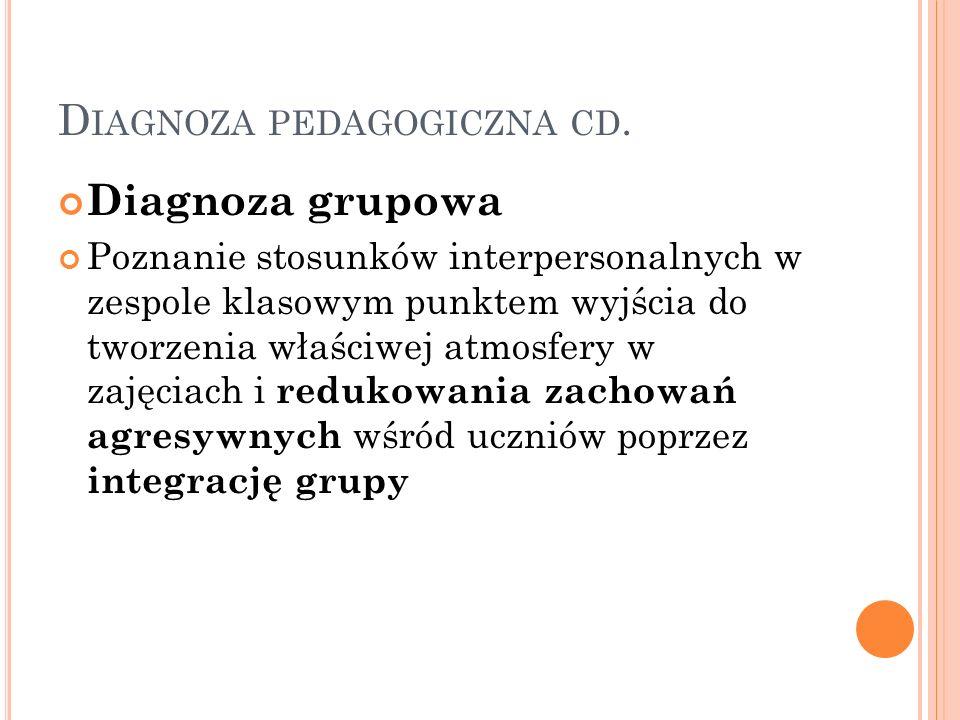 Diagnoza pedagogiczna cd.