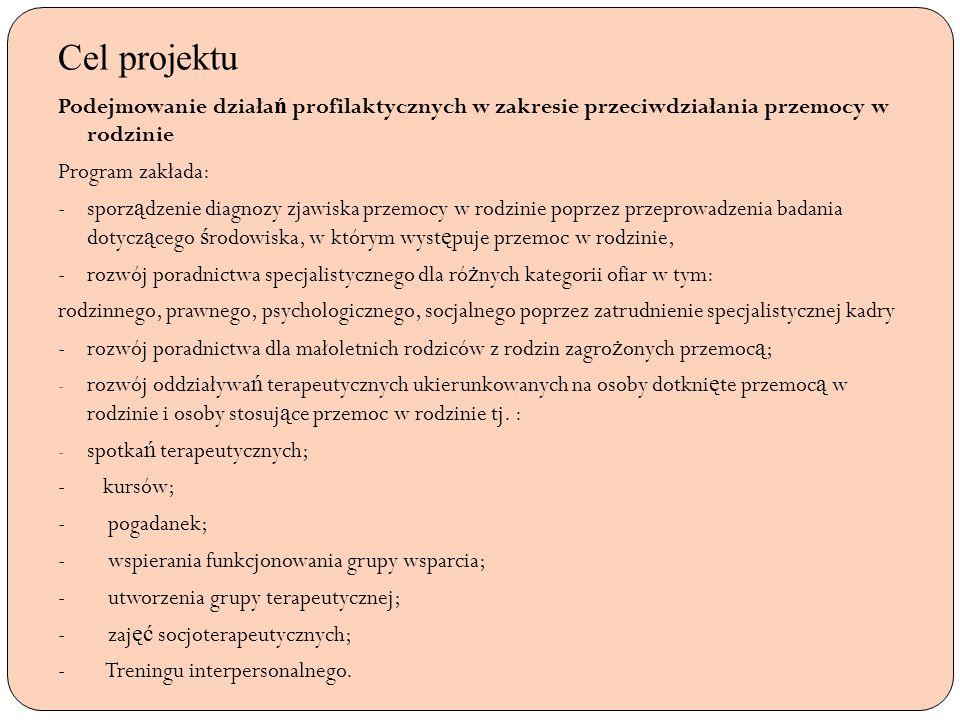 Cel projektuPodejmowanie działań profilaktycznych w zakresie przeciwdziałania przemocy w rodzinie.