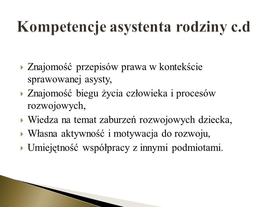 Kompetencje asystenta rodziny c.d