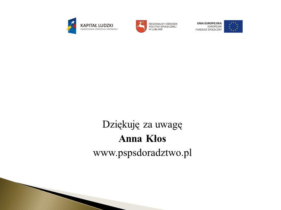 Dziękuję za uwagę Anna Kłos www.pspsdoradztwo.pl