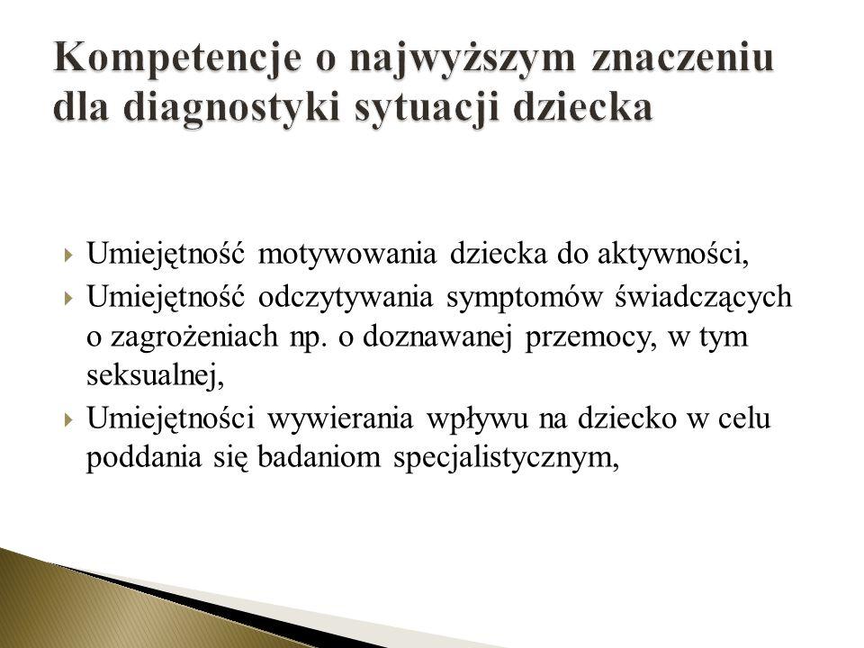 Kompetencje o najwyższym znaczeniu dla diagnostyki sytuacji dziecka