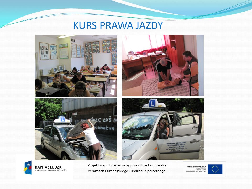 KURS PRAWA JAZDY Projekt współfinansowany przez Unię Europejską
