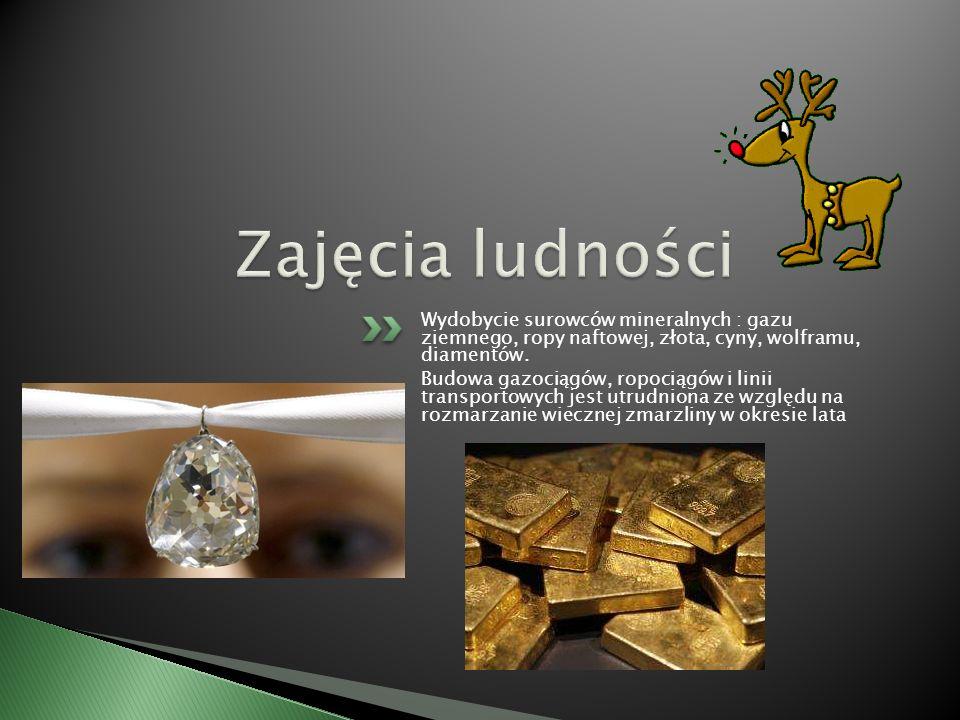 Zajęcia ludności Wydobycie surowców mineralnych : gazu ziemnego, ropy naftowej, złota, cyny, wolframu, diamentów.