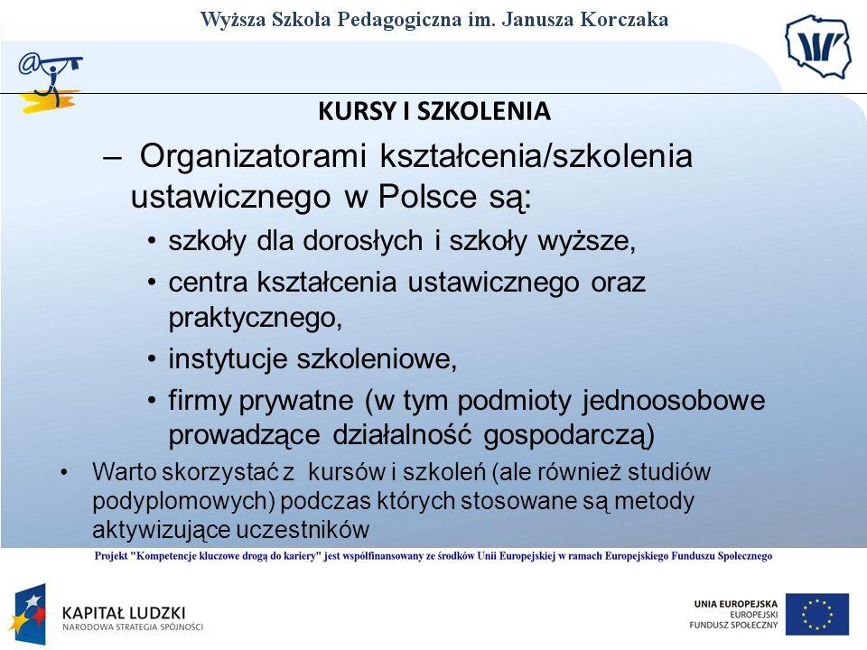 Organizatorami kształcenia/szkolenia ustawicznego w Polsce są: