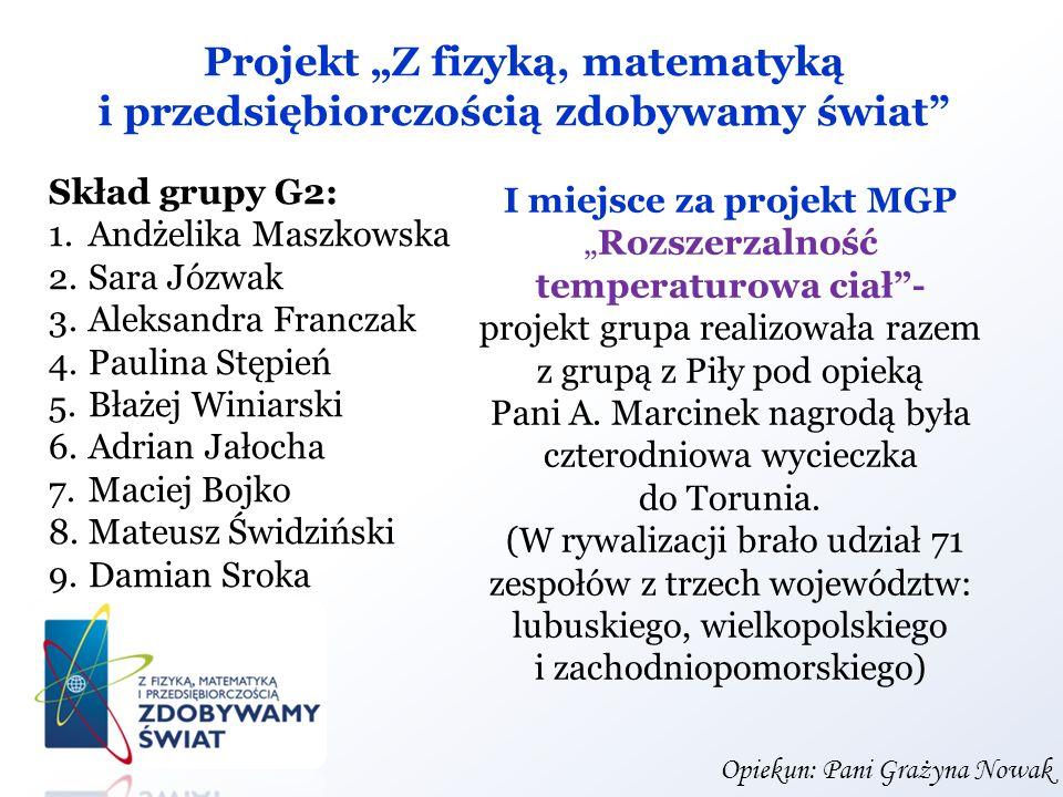 """Projekt """"Z fizyką, matematyką i przedsiębiorczością zdobywamy świat"""