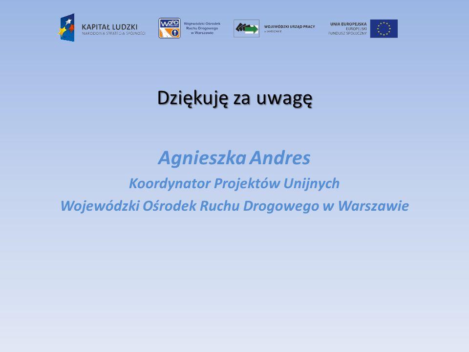 Dziękuję za uwagę Agnieszka Andres Koordynator Projektów Unijnych