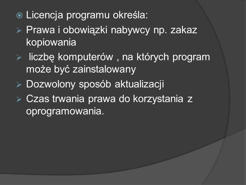Licencja programu określa: