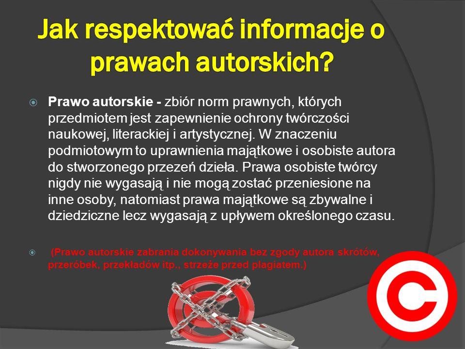 Jak respektować informacje o prawach autorskich