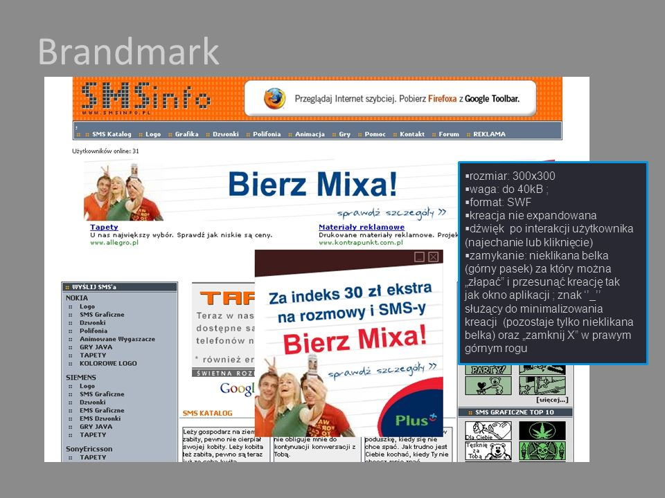 Brandmark rozmiar: 300x300 waga: do 40kB ; format: SWF