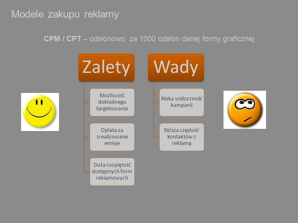 Modele zakupu reklamy CPM / CPT – odsłonowo, za 1000 odsłon danej formy graficznej. Zalety. Możliwość dokładnego targetowania.