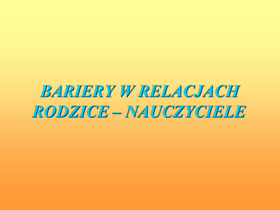 BARIERY W RELACJACH RODZICE – NAUCZYCIELE