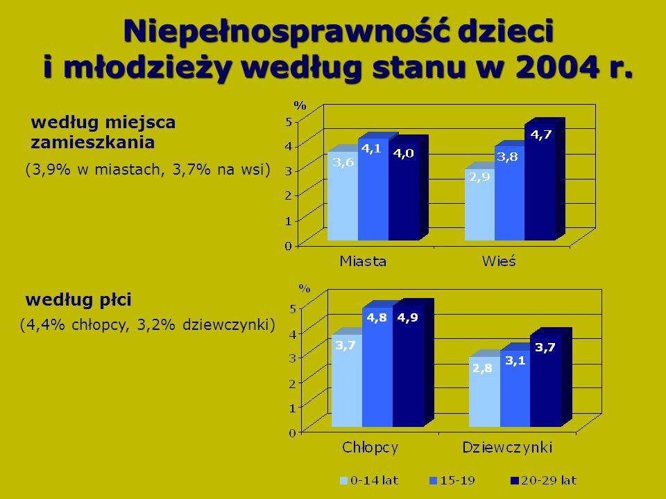 Niepełnosprawność dzieci i młodzieży według stanu w 2004 r.