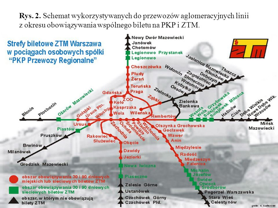 Rys. 2. Schemat wykorzystywanych do przewozów aglomeracyjnych linii