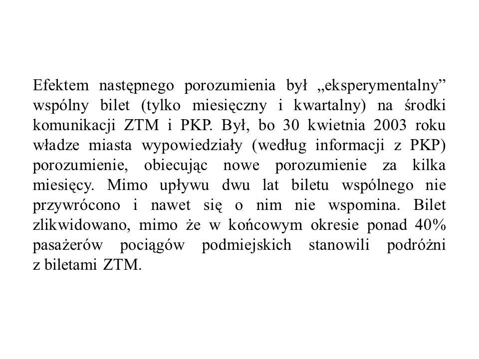 """Efektem następnego porozumienia był """"eksperymentalny wspólny bilet (tylko miesięczny i kwartalny) na środki komunikacji ZTM i PKP."""