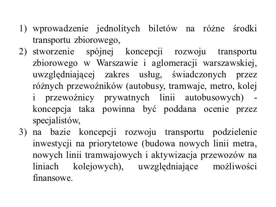 wprowadzenie jednolitych biletów na różne środki transportu zbiorowego,