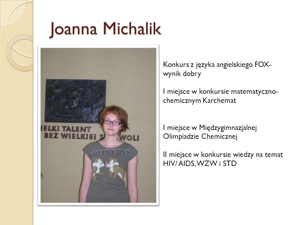 Joanna Michalik Konkurs z języka angielskiego FOX- wynik dobry