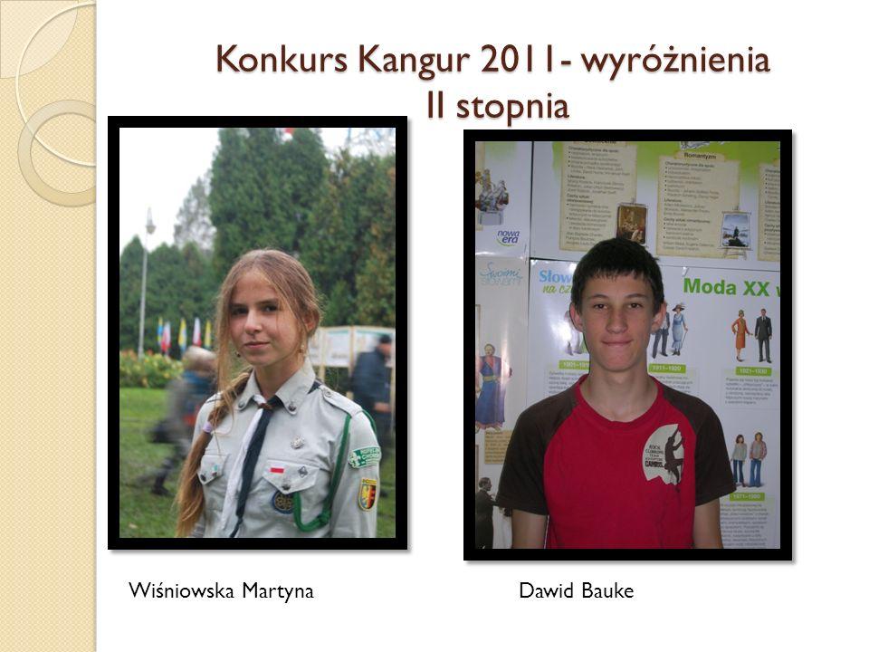 Konkurs Kangur 2011- wyróżnienia II stopnia