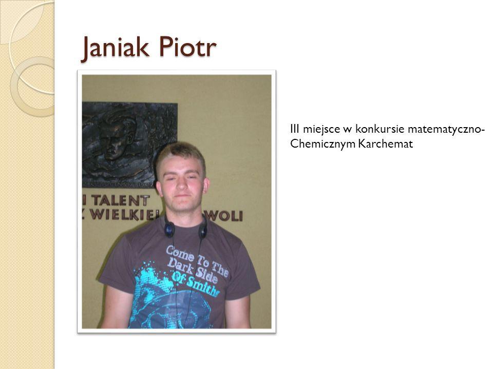 Janiak Piotr III miejsce w konkursie matematyczno-