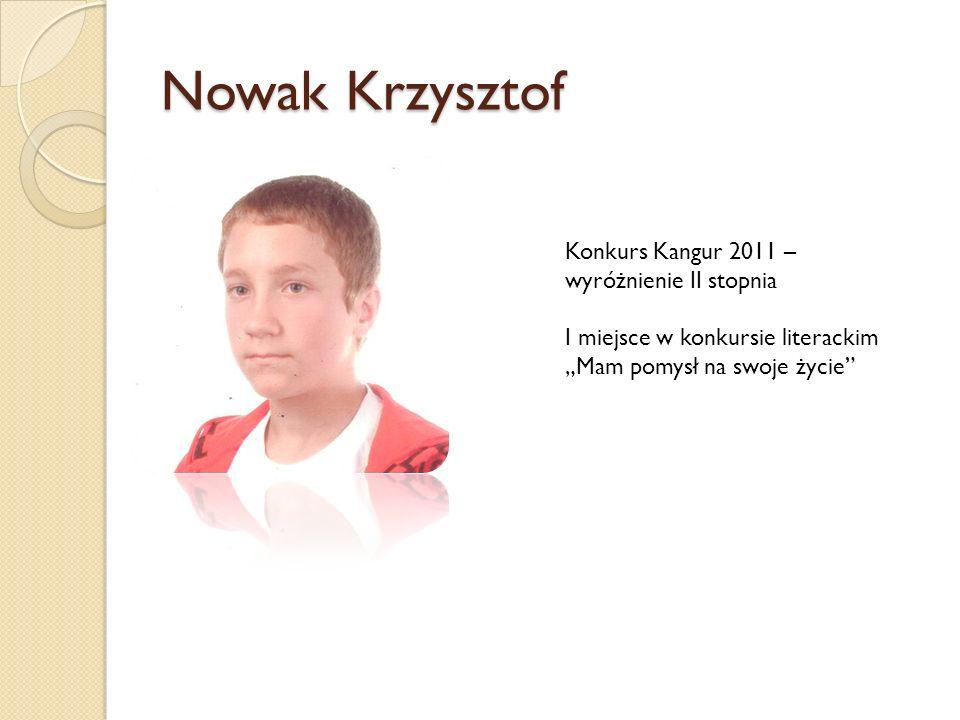 Nowak Krzysztof Konkurs Kangur 2011 – wyróżnienie II stopnia