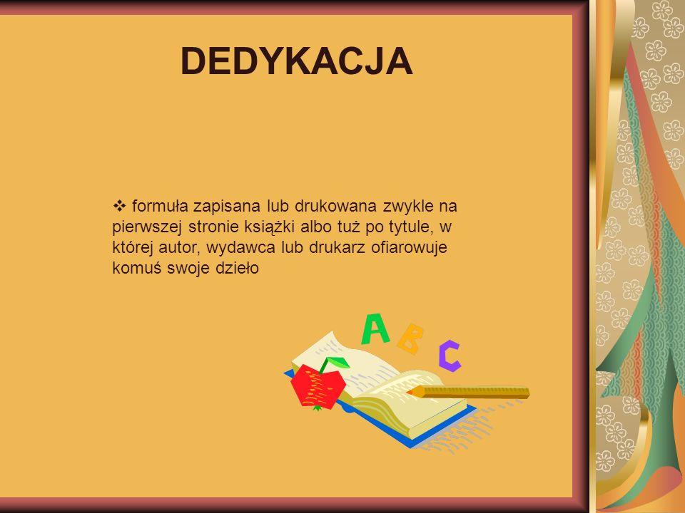 DEDYKACJA