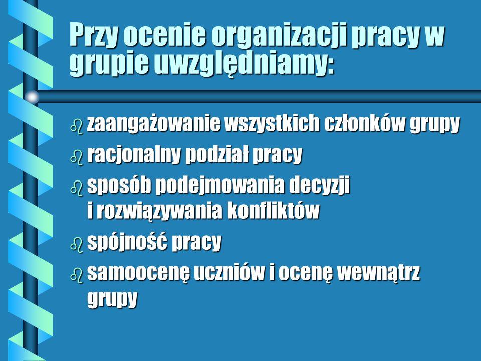 Przy ocenie organizacji pracy w grupie uwzględniamy: