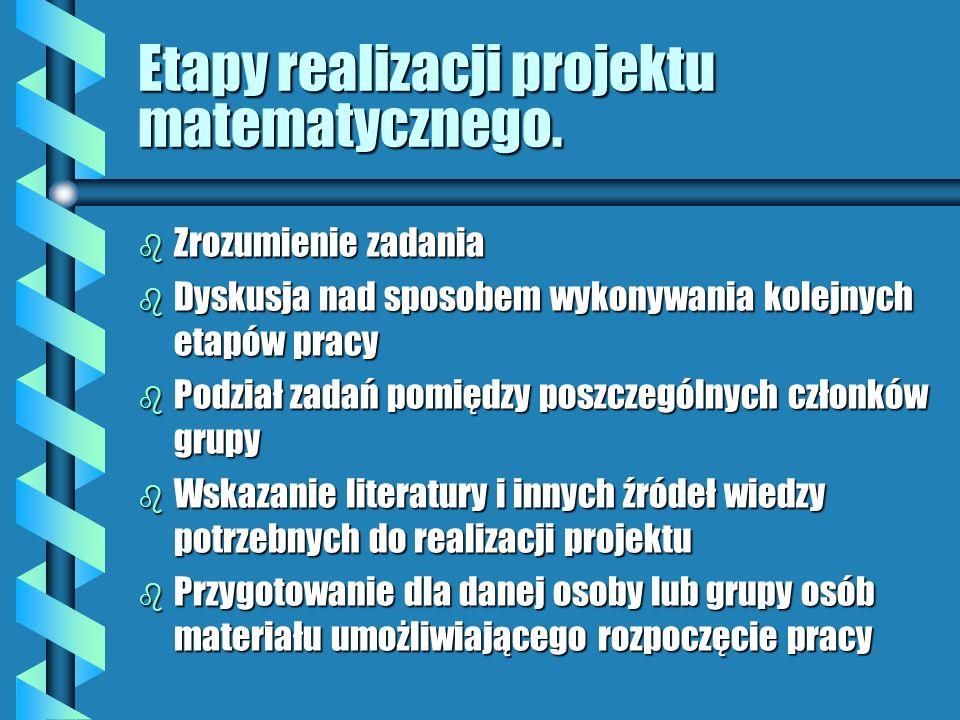 Etapy realizacji projektu matematycznego.