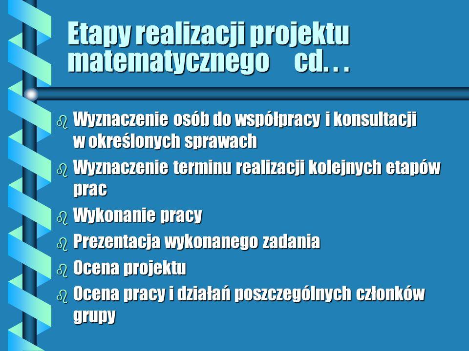 Etapy realizacji projektu matematycznego cd. . .