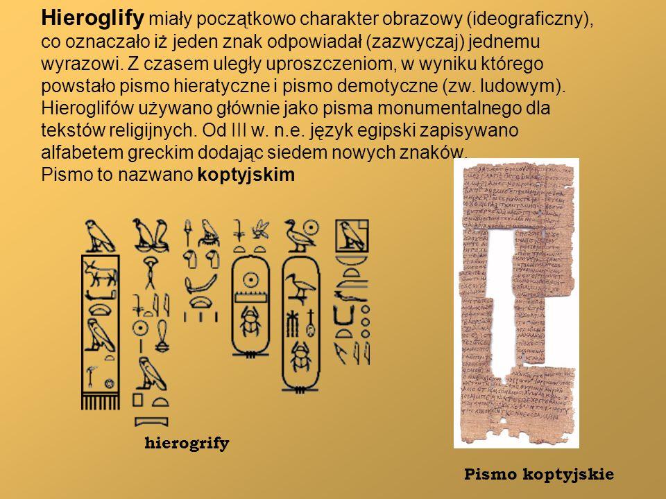 Hieroglify miały początkowo charakter obrazowy (ideograficzny),