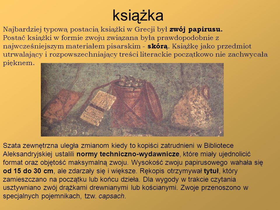 książka Najbardziej typową postacią książki w Grecji był zwój papirusu.