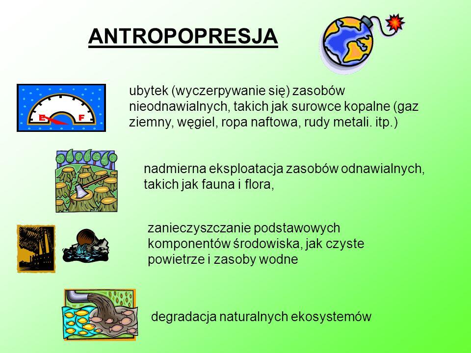 ANTROPOPRESJAubytek (wyczerpywanie się) zasobów nieodnawialnych, takich jak surowce kopalne (gaz ziemny, węgiel, ropa naftowa, rudy metali. itp.)