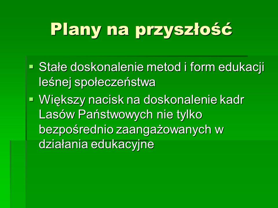 Plany na przyszłość Stałe doskonalenie metod i form edukacji leśnej społeczeństwa.
