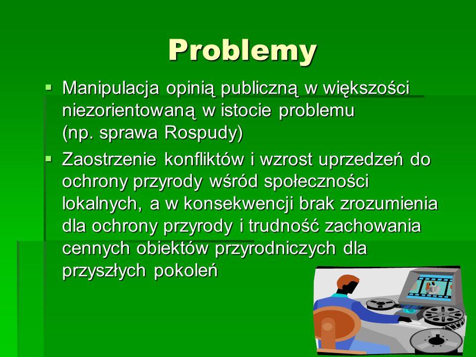 Problemy Manipulacja opinią publiczną w większości niezorientowaną w istocie problemu (np. sprawa Rospudy)
