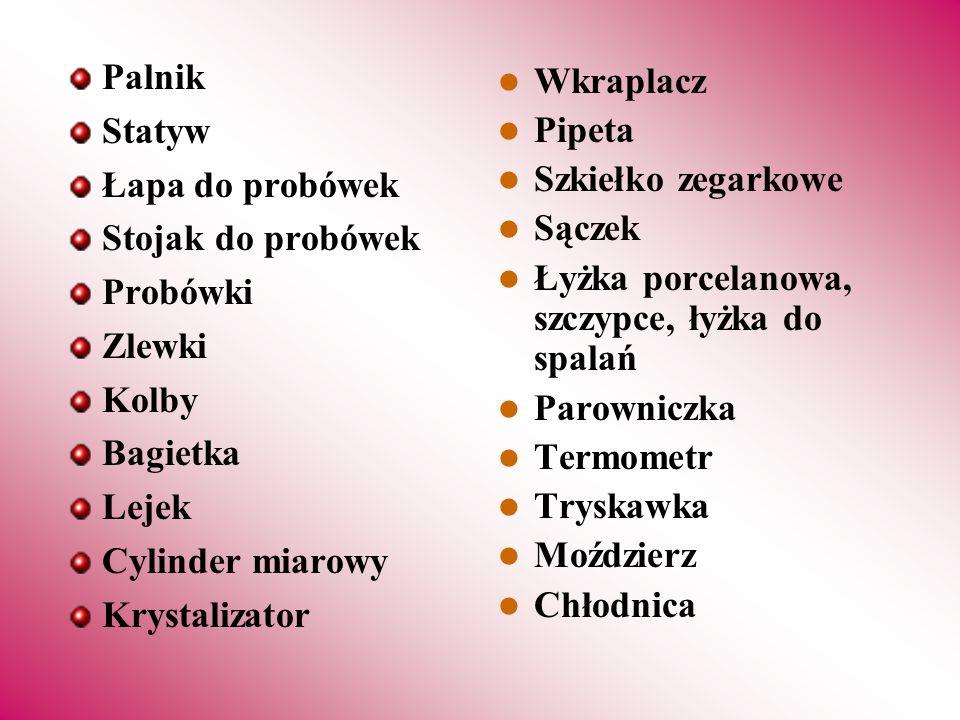 Palnik Statyw. Łapa do probówek. Stojak do probówek. Probówki. Zlewki. Kolby. Bagietka. Lejek.