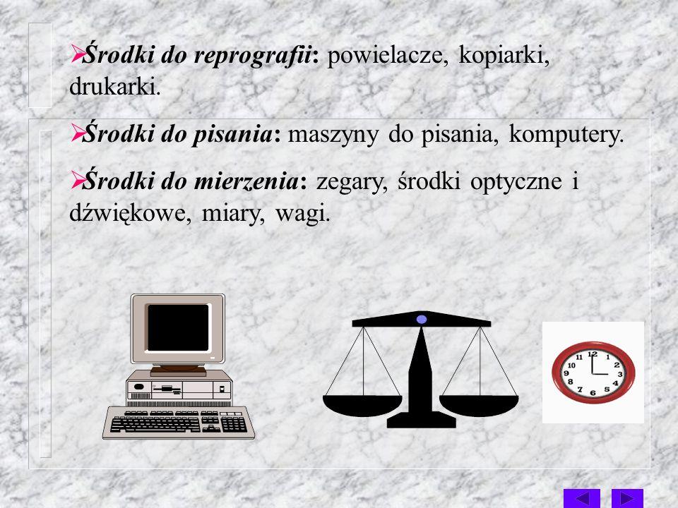 Środki do reprografii: powielacze, kopiarki, drukarki.