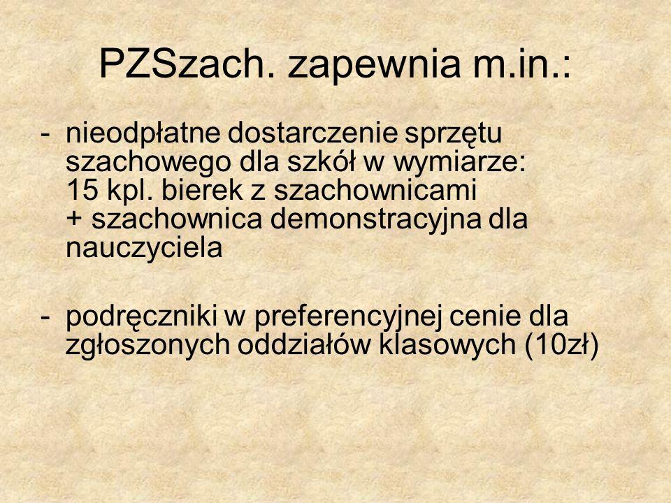 PZSzach. zapewnia m.in.: