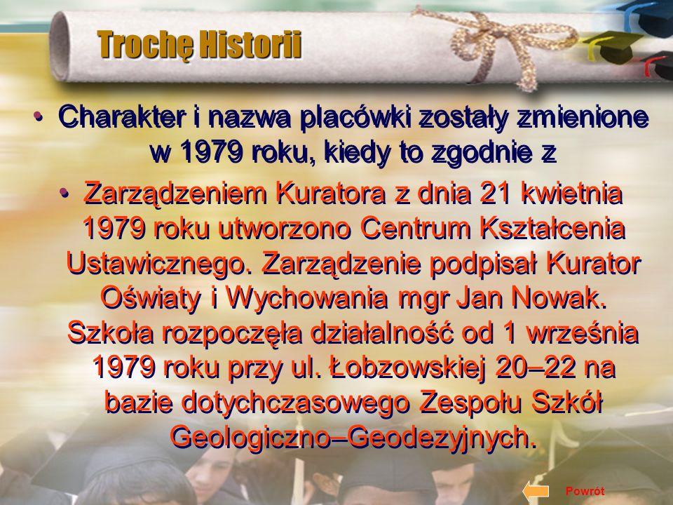 Trochę Historii Charakter i nazwa placówki zostały zmienione w 1979 roku, kiedy to zgodnie z.