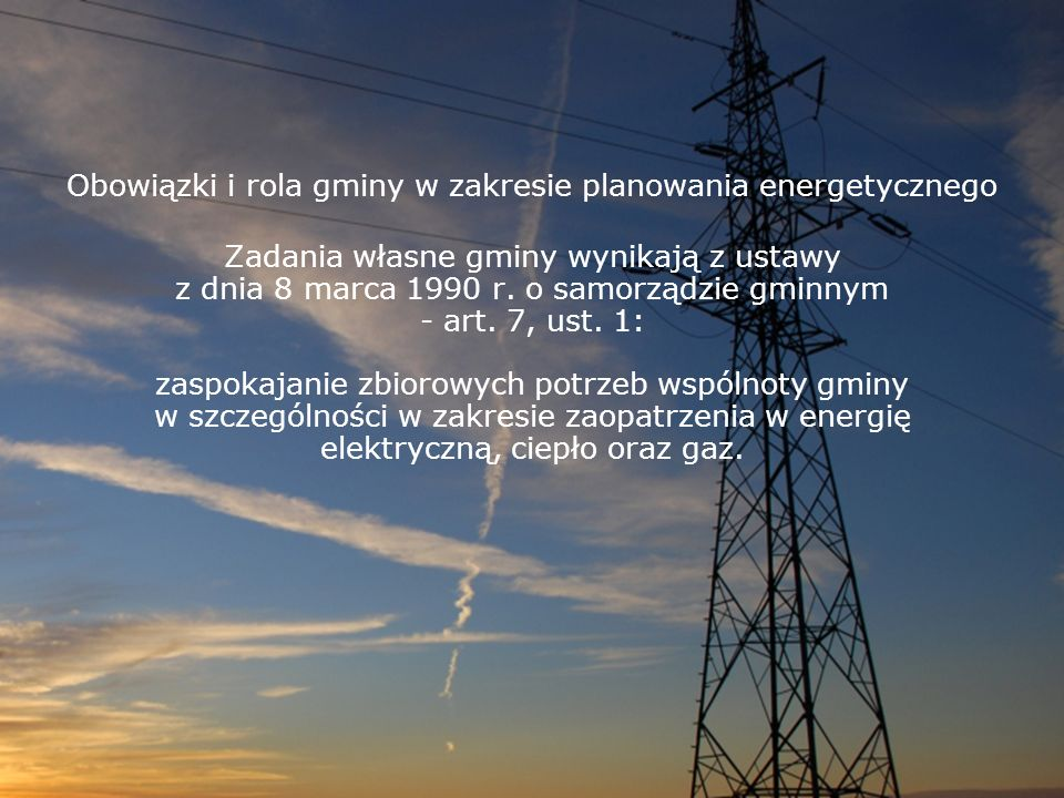 Obowiązki i rola gminy w zakresie planowania energetycznego