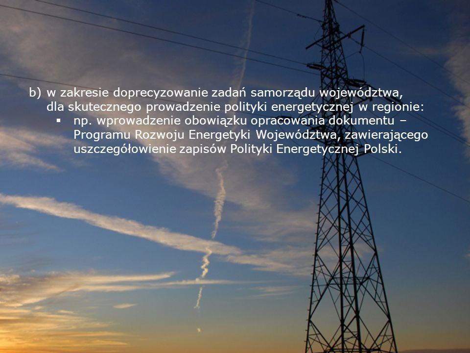 w zakresie doprecyzowanie zadań samorządu województwa, dla skutecznego prowadzenie polityki energetycznej w regionie: