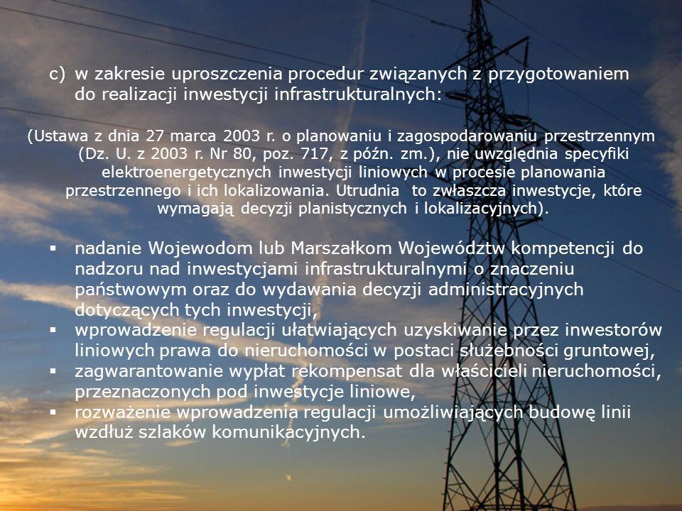 w zakresie uproszczenia procedur związanych z przygotowaniem do realizacji inwestycji infrastrukturalnych: