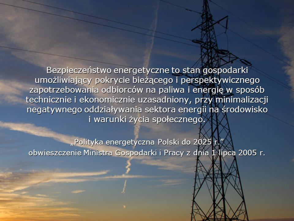 Bezpieczeństwo energetyczne to stan gospodarki umożliwiający pokrycie bieżącego i perspektywicznego zapotrzebowania odbiorców na paliwa i energię w sposób technicznie i ekonomicznie uzasadniony, przy minimalizacji negatywnego oddziaływania sektora energii na środowisko i warunki życia społecznego.