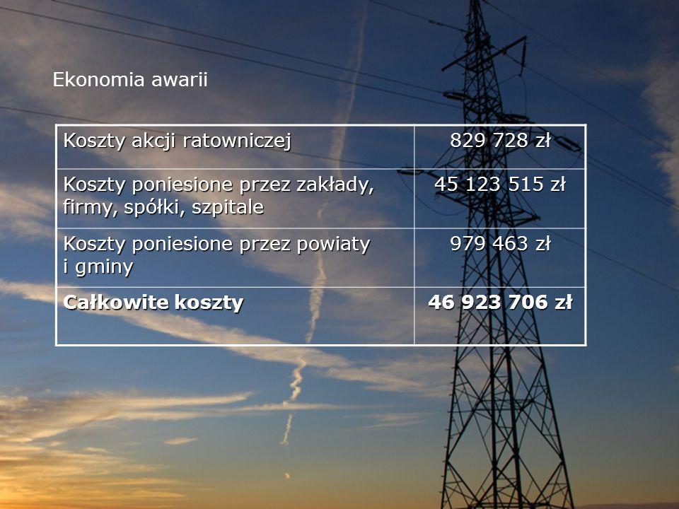 Ekonomia awarii Koszty akcji ratowniczej. 829 728 zł. Koszty poniesione przez zakłady, firmy, spółki, szpitale.