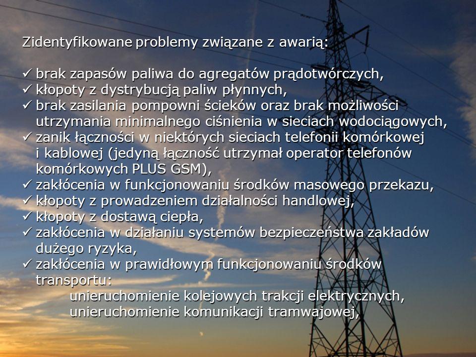 Zidentyfikowane problemy związane z awarią: