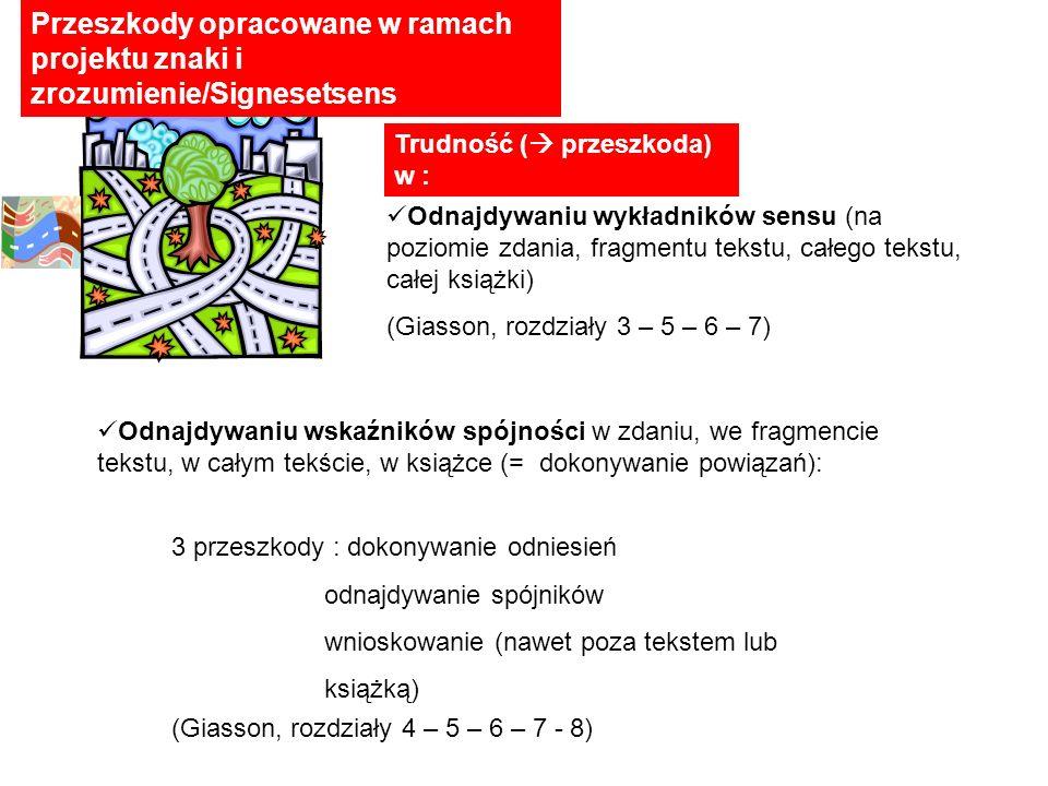 Przeszkody opracowane w ramach projektu znaki i zrozumienie/Signesetsens