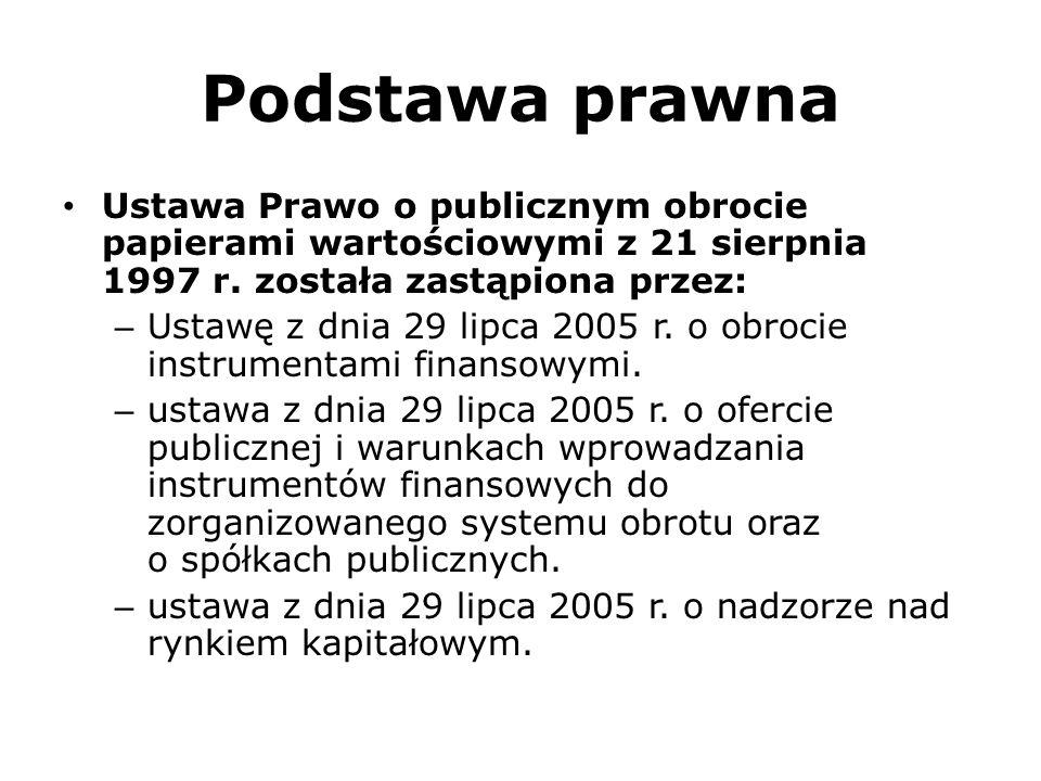 Podstawa prawna Ustawa Prawo o publicznym obrocie papierami wartościowymi z 21 sierpnia 1997 r. została zastąpiona przez: