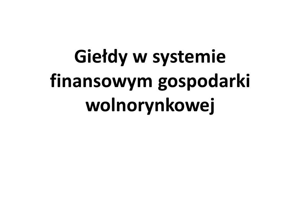 Giełdy w systemie finansowym gospodarki wolnorynkowej
