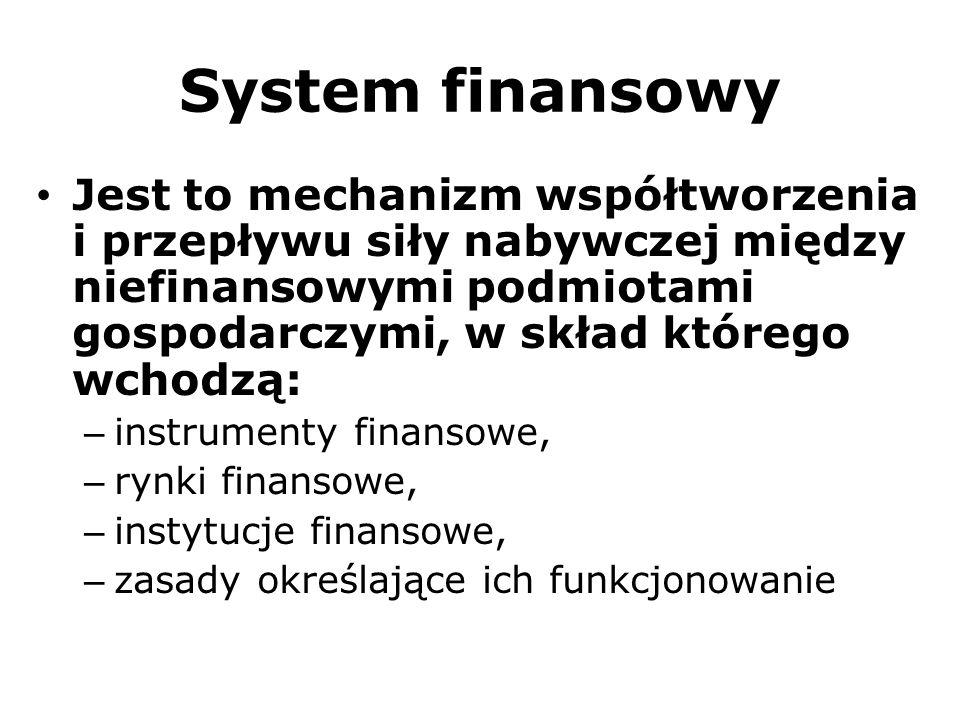 System finansowy Jest to mechanizm współtworzenia i przepływu siły nabywczej między niefinansowymi podmiotami gospodarczymi, w skład którego wchodzą: