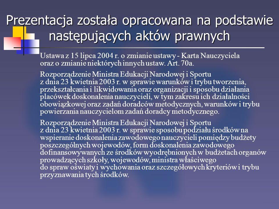 Prezentacja została opracowana na podstawie następujących aktów prawnych