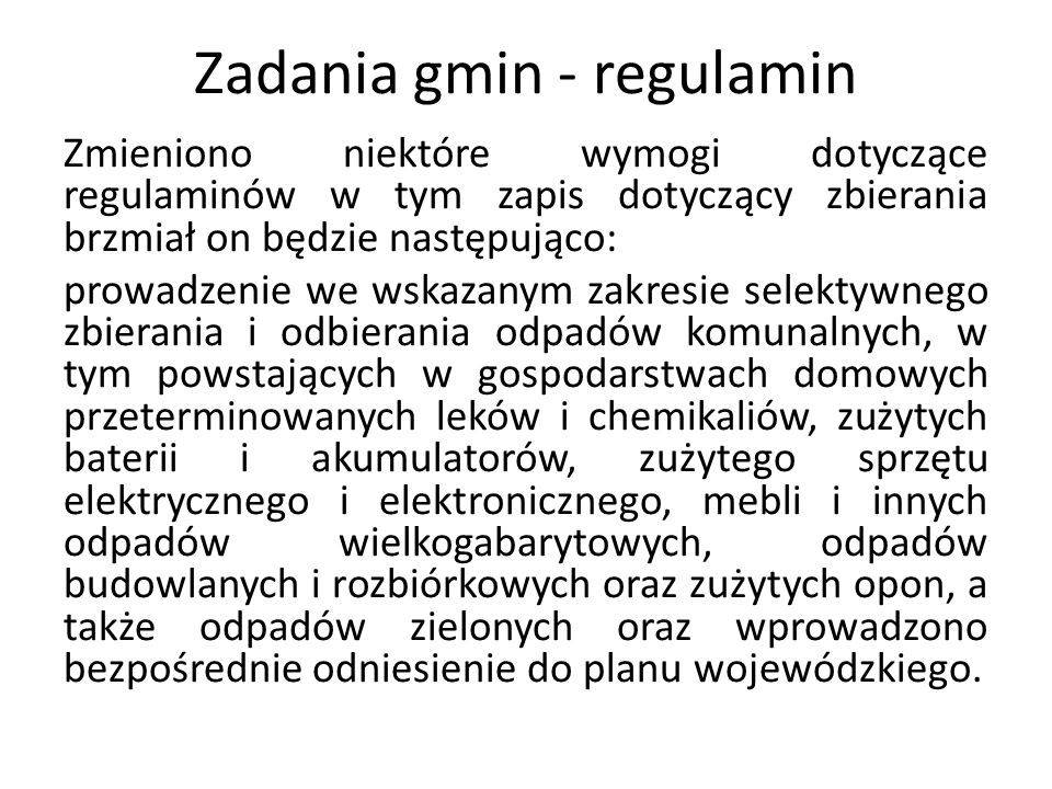 Zadania gmin - regulamin