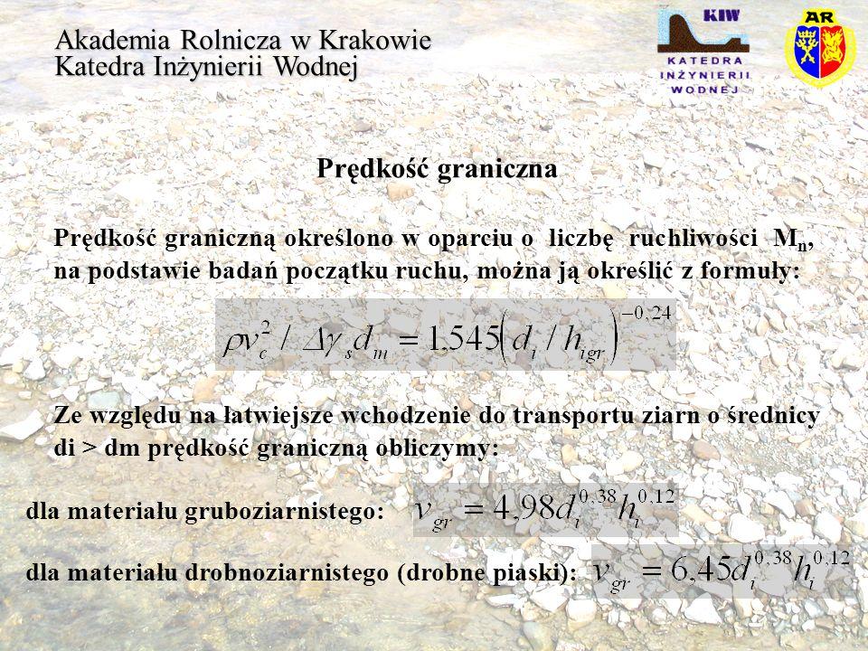Akademia Rolnicza w Krakowie Katedra Inżynierii Wodnej