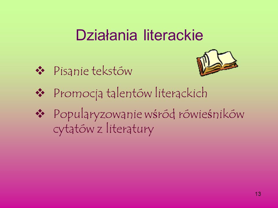 Działania literackie Pisanie tekstów Promocja talentów literackich